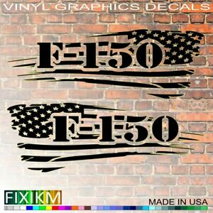 2x American Flag Vinyl Decals Fit For Ford F150 Trucks Left Right Side Pair Set