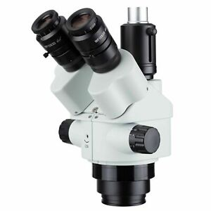 Amscope 7x 45x Simul focal Trinocular Zoom Stereo Microscope Head White
