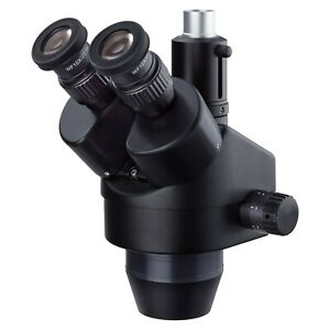 Amscope 7 45x Trinocular Zoom Stereo Microscope Head Simul focal Widefield Black