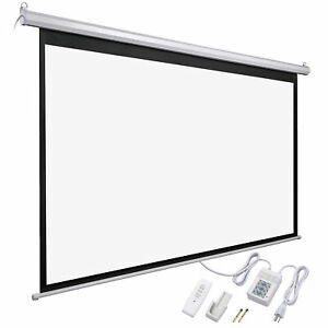 92 Electric Projector Screen 16 9 Remote Projection Home Theater Wall 3d Movies