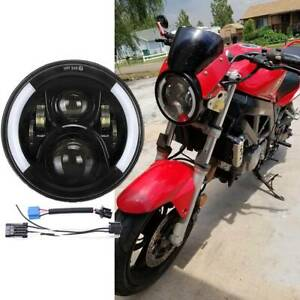 For Suzuki Sv650 7 Round Motorcycle Led Projector Headlight High Low Beam Black