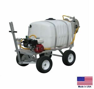 Sprayer Commercial Trailer Mounted 100 Gallon Tank 9 5 Gpm 5 5 Hp Reel
