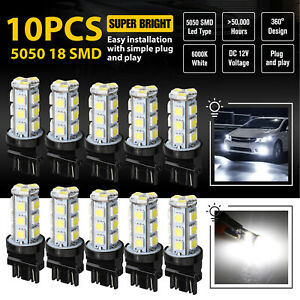 10 Pcs 3157 3156 18smd Reverse Brake Stop Turn Tail Back Up Led Light Bulb White