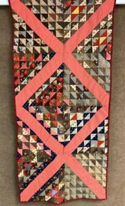 Tiny Pcs Vintage Triangles Birds In Air Quilt Table Runner Browns 56 X 27