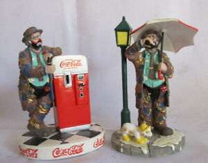 2 Stanton Arts 1997 Coca - Cola Emmett Kelly Clown Figurines