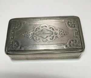 Antique Georgian C1850 French 800 Silver Large Travel Box Case Size 3 75 L M32
