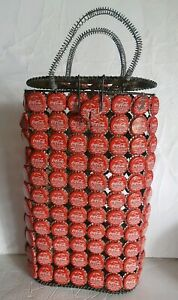 Vintage Hand Made Coca Cola Bottle Cap Pop Art Basket Bag Tote 2005
