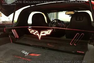 Corvette C6 Led Lighted Trunk Panel Accessories Engraved Logo Personalized