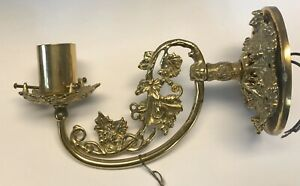 Vintage Brass American Victorian Electric Wall Sconce Rocco Revival Lamp Ornate