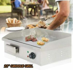 22 Electric Countertop Griddle Commercial Teppanyaki Grill Stainless Steel Bbq