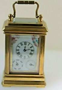 Rare French Miniature Carriage Clock Antique Serves Pink Porcelain Painted Panel