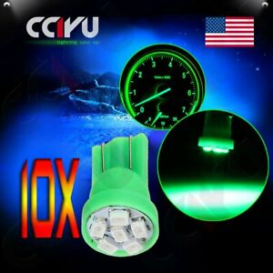10pcs T10 194 Car Green 6 smd Led Bulbs Side Wedge Instrument Instrument Light
