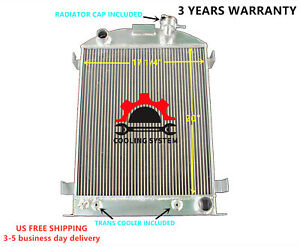 Fit 32 34 35 36 37 38 Ford Model A Chevy V8 Upgrade 3 Rows Aluminum Radiator