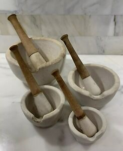 Set Of 4 Vintage Thomas Maddock Sons Granite Stone Mortar Pestles Gvc