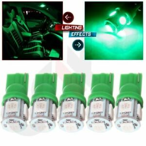 5x Green T10 5050 Led Glove Light Lamp 194 168 159 For Car Replacement Bulb