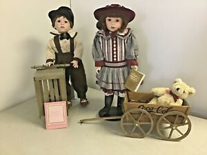 2 Franklin Mint Heirloom Coca Cola Dolls Danny and Megan w Cart & Wagon Bear