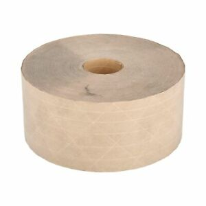 6 Rolls 72mm X 500 Reinforced Brown Kraft Gummed Paper Tape Economy Grade