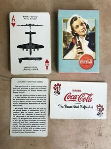 WWII Coca Cola Airplane Spotter Playing Cards Complete w/ 1 Joker