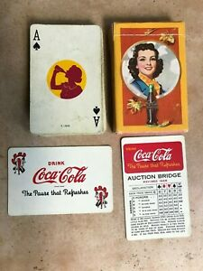 1943 Coca Cola Playing Cards Complete with 1 Joker & 1 Auction Bridge Card