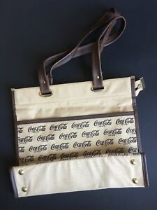 Vintage Coca-Cola Canvas Linen Cotton Plastic Tote Bag Brown 1960-70 UNUSED 13""