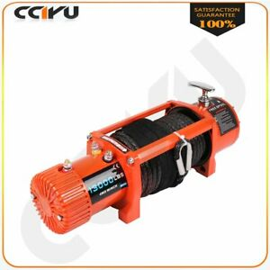 12v 13000lbs Electric Winch Towing Truck Trailer Synthetic Rope For 02 10 Hummer