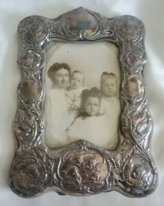 Antique Angels Cherubs Sterling Silver Picture Photo Frame Signed Jb Co