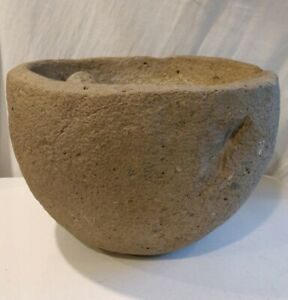 Authentic Native American Stone Mortar Pedestal Bowl Artifact Cali