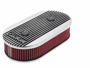 Edelbrock 4272 Air Cleaner Oval Dual Quad Carbs 2 5 Red Element Polished