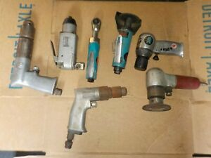 Lot Of 7 Air Tools Pnumatic Butterfly Impact Ratchet Drill Grinder Wrench