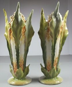 Pair Antique Porcelain Numbered Flower Figural Tall Vases Made In Austria
