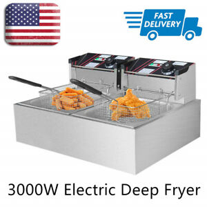 Home Fun 12l Electric Deep Fryer Portable Dual Tank Basket Commercial Restaurant