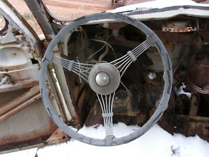 1938 1939 Ford Steering Column Complete W Banjo Steering Wheel And Horn Button