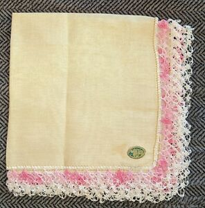 Vintage Irish Linen Handkerchief With Wide Crochet Lace Trim Nwt