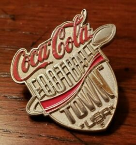 Coca - Cola FOOTBALL TOWN USA  College NFL Silver Tone Pin