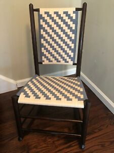 Antique 19thc Youth Shaker Style Rocking Chair With New Shaker Tape Seat