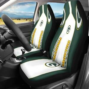 2pcs Green Bay Packers Car Seat Cover Front Seat Universal Fit For Most Car Suvs