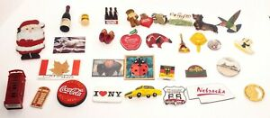 Lot of 32 Vintage Fridge Magnets Switzerland NY GERMANY ROUTE 66 COCA-COLA