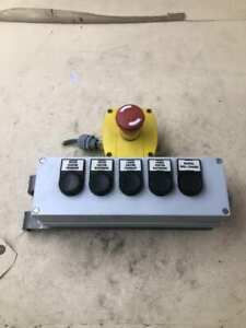 5 Button Pushbutton Switch Station W Emergency Stop Conveyor Control