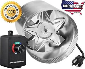 4 6 8 In Inline Duct Booster Fan Exhaust Fans Vent Blower Speed Controller Grow