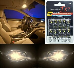 Canbus Error Led Light 194 Warm White Ten Bulbs License Plate Tag Upgrade Fit