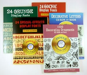 5 Dover Font Clip Art Books cds Grunge Gothic Special Effects Ornaments Letter