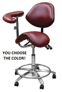Galaxy 2035 Saddle Seat Dental Assistant Medical Stool Chair W Back Rest