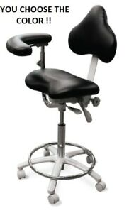 Galaxy 2025 r Contoured Seat Dental Assistant Medical Stool Chair W Back Rest
