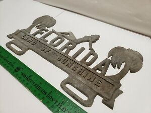 Rare Vintage Swimsuit Beauty Florida Aluminum License Plate Topper