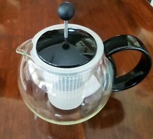 Bodum 4 cup Glass Tea Pot Infuser French Press for Loose Tea EUC! $12.00