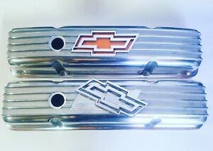 Chevy Bowtie 327 350 400 Polished Aluminum Short Retro Finned Valve Covers