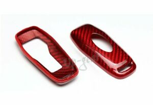For Mustang Real Red Carbon Fiber Smart Remote Key Shell Cover Case 3 4 Button