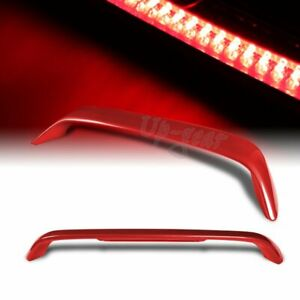 For 1996 2000 Honda Civic Coupe Painted Red Rear Trunk Spoiler Wing Led Brake