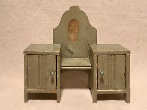 Antique Dollhouse Vanity Dressing Table With Mirror And Cabinets Germany