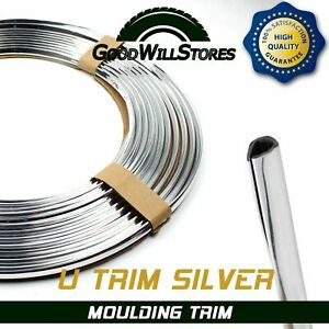 Silver Chrome Car Door Edge Decoration Molding Trim Protector Strip U Shap 19fts